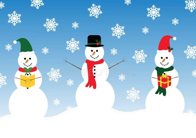 Gelukkige Sneeuwman drie stock illustratie