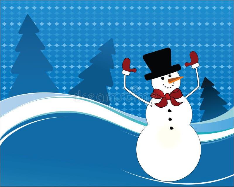 Gelukkige sneeuwmanwapens in de lucht royalty-vrije illustratie
