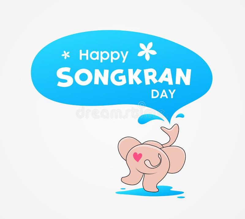 Gelukkige Songkran dag Thailand, de plonsontwerp van het olifantswater vector illustratie