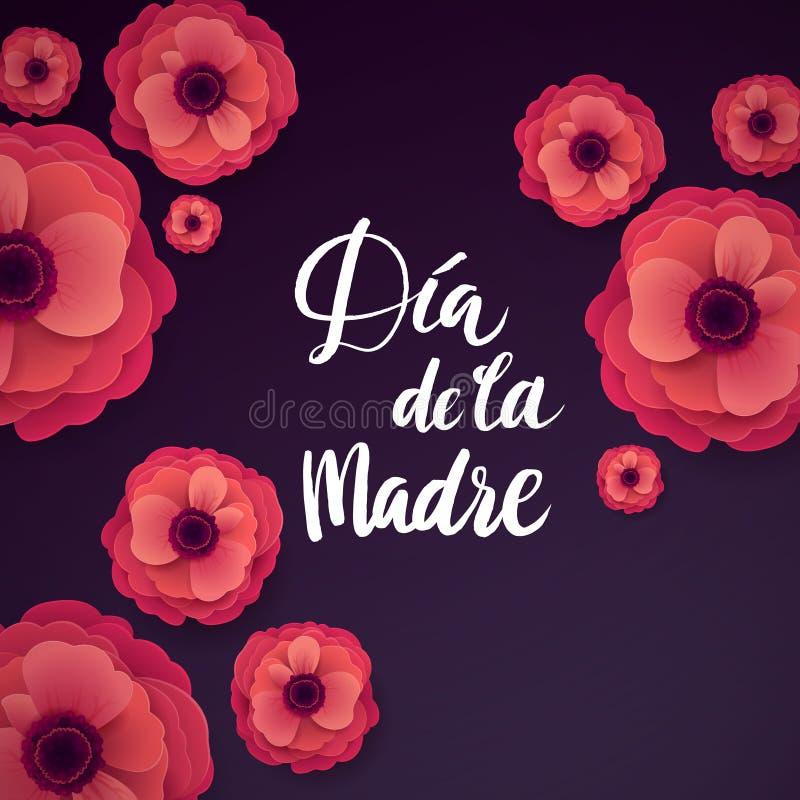 Gelukkige Spaanse de Groetkaart van de Moedersdag Het mooie Bloeien Anemone Paper Flowers royalty-vrije illustratie