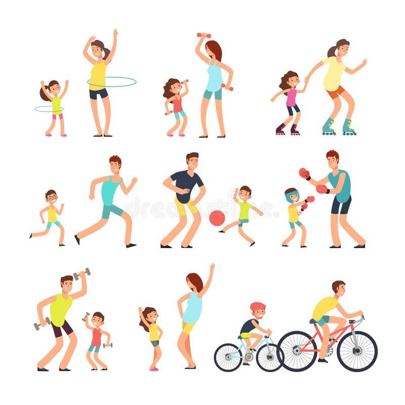 Gelukkige sportfamilie Mamma, papa die met jonge geitjes sportenoefeningen doen openlucht Ouders en kinderen in de vector van de  royalty-vrije illustratie