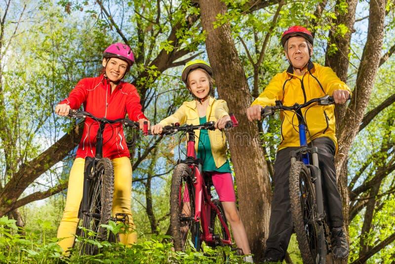 Gelukkige sportieve familie op de fietsen in zonnig bos stock foto's