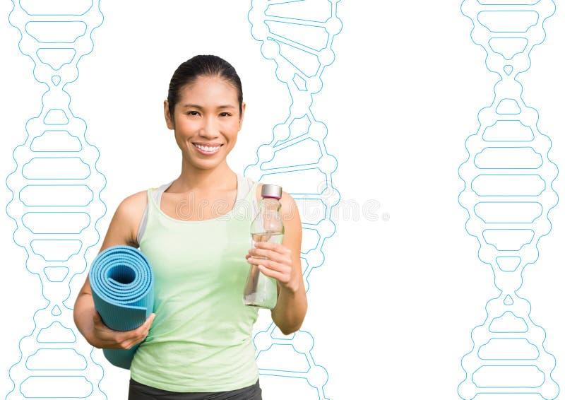 gelukkige sportieve vrouw met DNA-kettingenachtergrond royalty-vrije illustratie