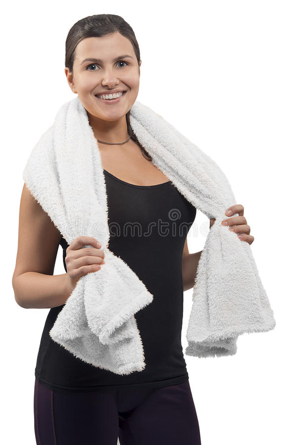 Gelukkige sportvrouw met handdoek stock fotografie