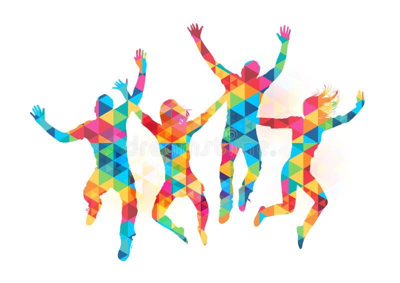 Gelukkige Springende Mensen vector illustratie