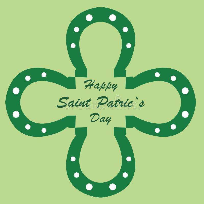Gelukkige St Patrick Dag met hoeven in de vorm van een groene klaver royalty-vrije illustratie
