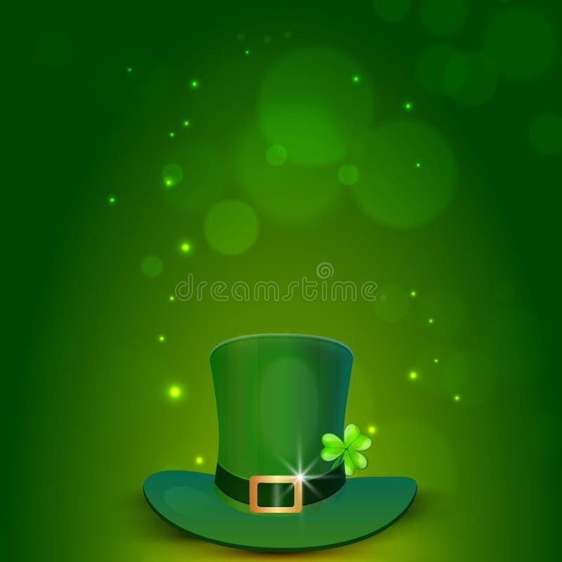 Gelukkige St Patrick Dagviering met kabouterhoed royalty-vrije illustratie