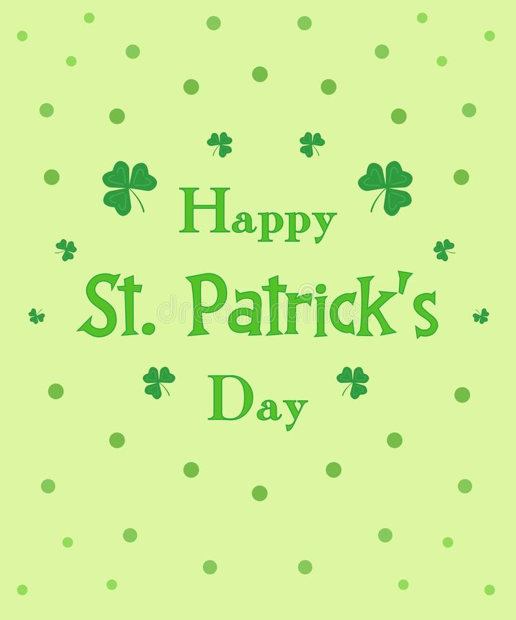 Gelukkige St Patrick de kaartklaver van de Dag groene groet bloemen vector illustratie