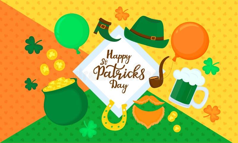 Gelukkige st Patrick ` s dag Horizontale banner Feestelijk decor royalty-vrije illustratie