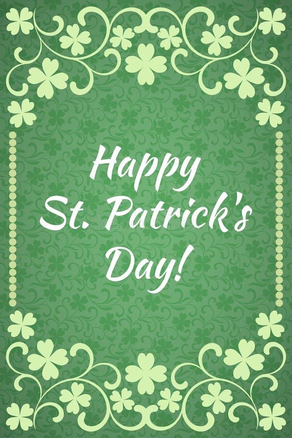 Gelukkige St Patrick ` s Dag! Luxemalplaatje met bloemenkader en een decoratief patroon stock illustratie