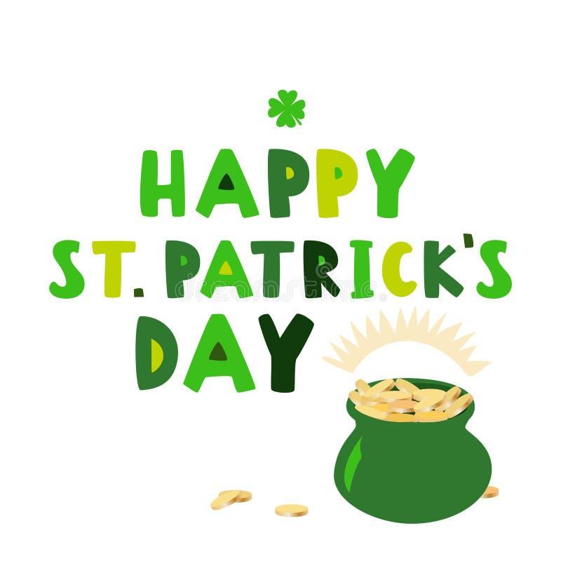 Gelukkige St Patrick ` s dag met groene pot van muntstukken Vector illustratie stock illustratie