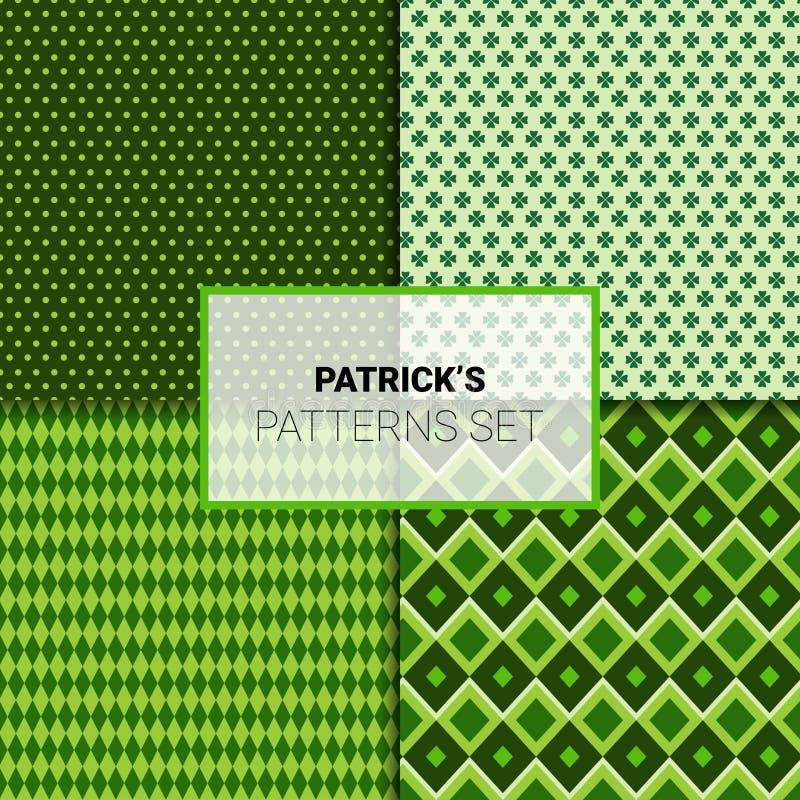 Gelukkige St Patricks Dag Naadloze Patronen Geplaatst Groene Ornamentenachtergrond royalty-vrije illustratie