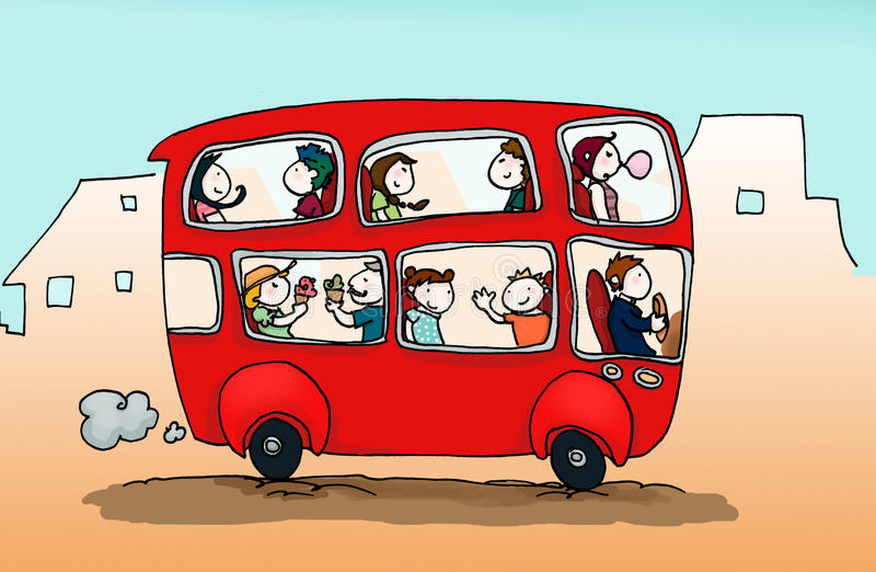 Gelukkige stadsbus stock illustratie