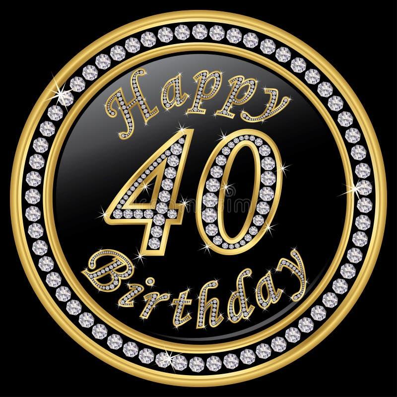 Gelukkige 40ste verjaardag, gelukkige verjaardag 40 jaar, gouden pictogram met D vector illustratie