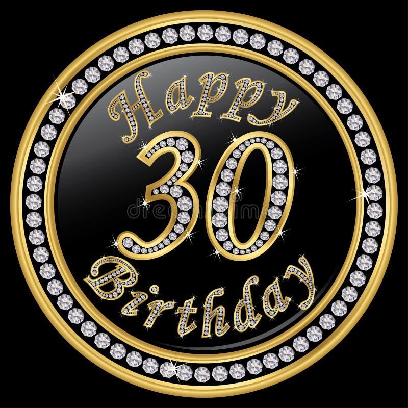 Gelukkige 30ste verjaardag, gelukkige verjaardag 30 jaar, gouden pictogram met D royalty-vrije illustratie