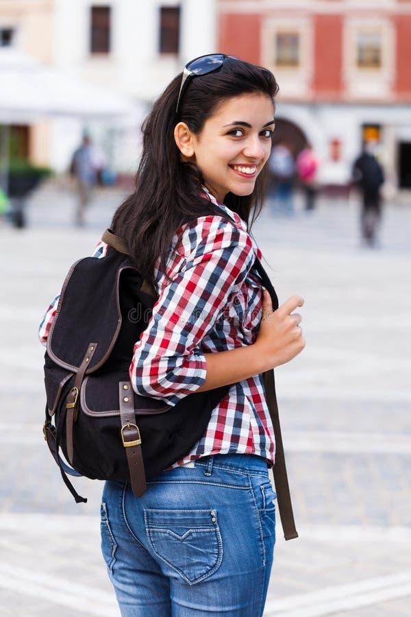 Gelukkige Student With Backpack royalty-vrije stock fotografie