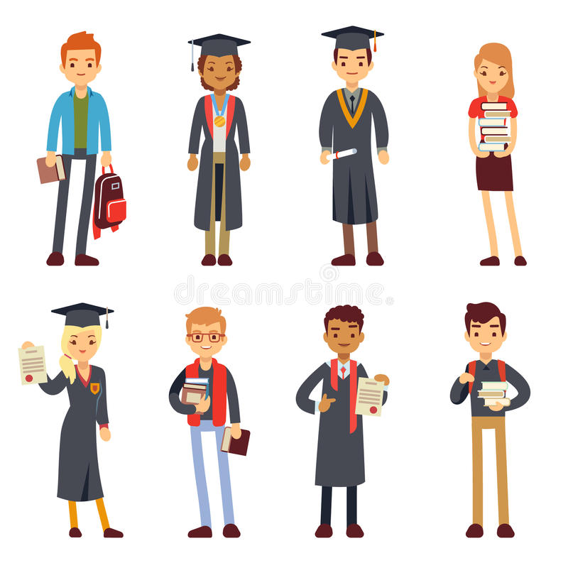 Gelukkige studenten en gediplomeerden jonge lerende mensen vectorkarakters vector illustratie