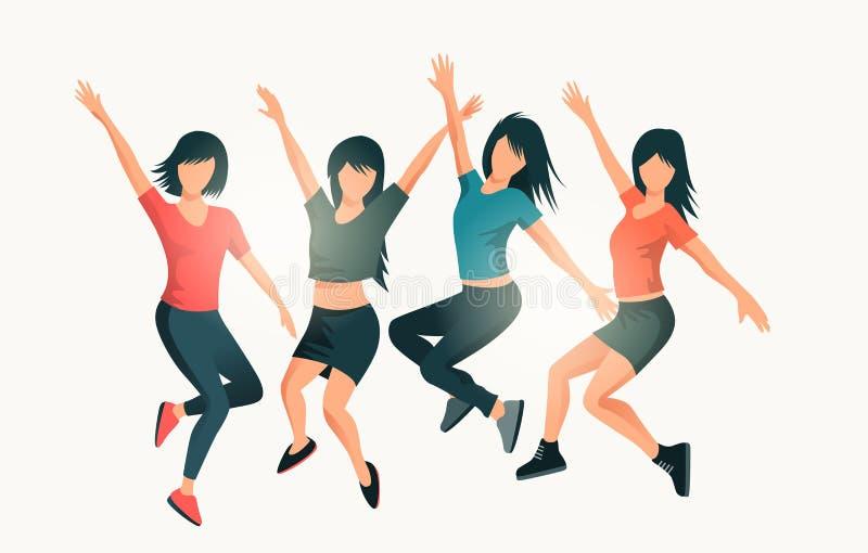 Gelukkige Succesvolle Springende Vrouwen stock illustratie