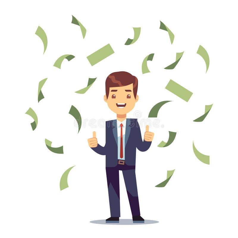 Gelukkige succesvolle zakenman in geldregen Financiën en bankwezen vectorconcept stock illustratie