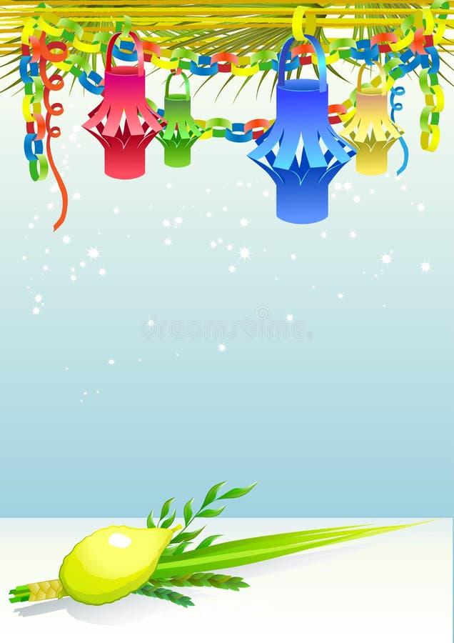 Gelukkige Sukkot met decoratieve elementen vector illustratie