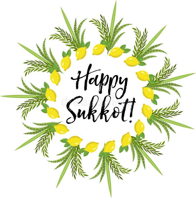 Gelukkige Sukkot om kader van kruiden Het Joodse malplaatje van vakantiehutten voor groetkaart vector illustratie