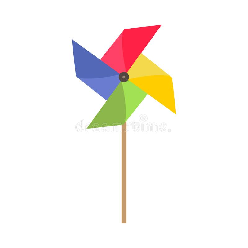 Gelukkige symbool van vuurrad het heldere kinderjaren Het document van het ventilator vectorpictogram windstuk speelgoed origami  vector illustratie