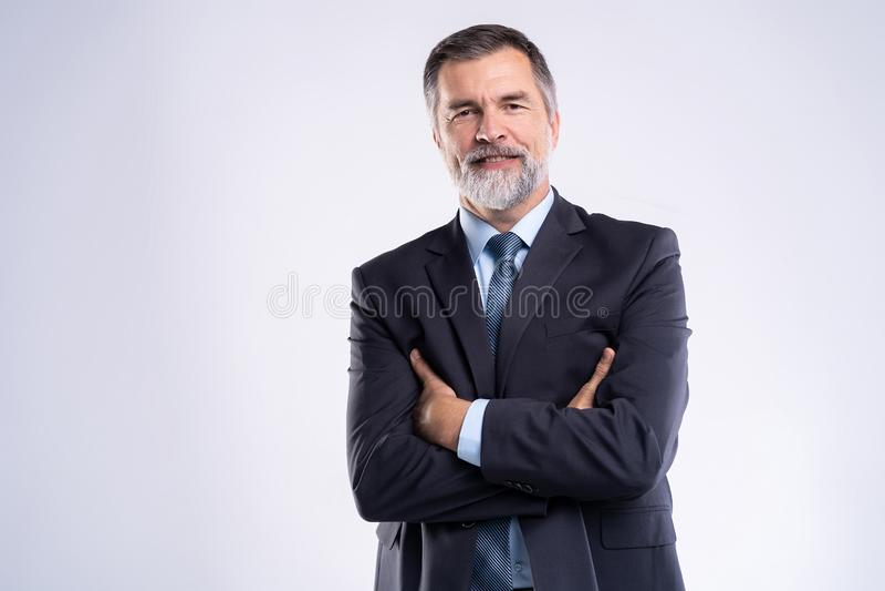 Gelukkige tevreden rijpe zakenman die die camera bekijken op witte achtergrond wordt geïsoleerd stock fotografie