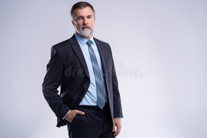Gelukkige tevreden rijpe zakenman die die camera bekijken op witte achtergrond wordt geïsoleerd stock foto
