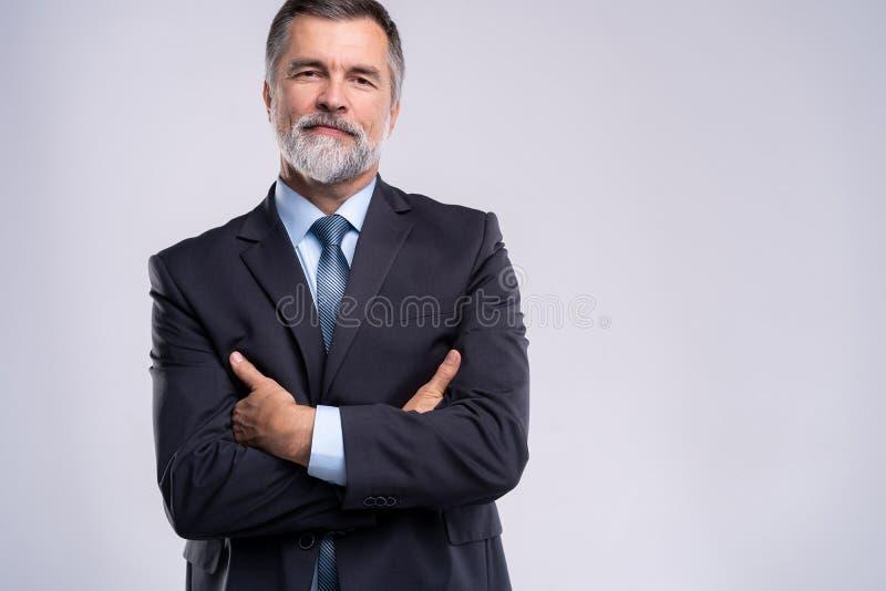 Gelukkige tevreden rijpe zakenman die die camera bekijken op witte achtergrond wordt geïsoleerd stock afbeeldingen