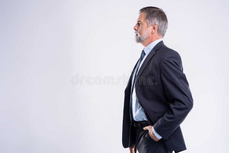 Gelukkige tevreden rijpe zakenman die die camera bekijken op witte achtergrond wordt geïsoleerd royalty-vrije stock afbeeldingen