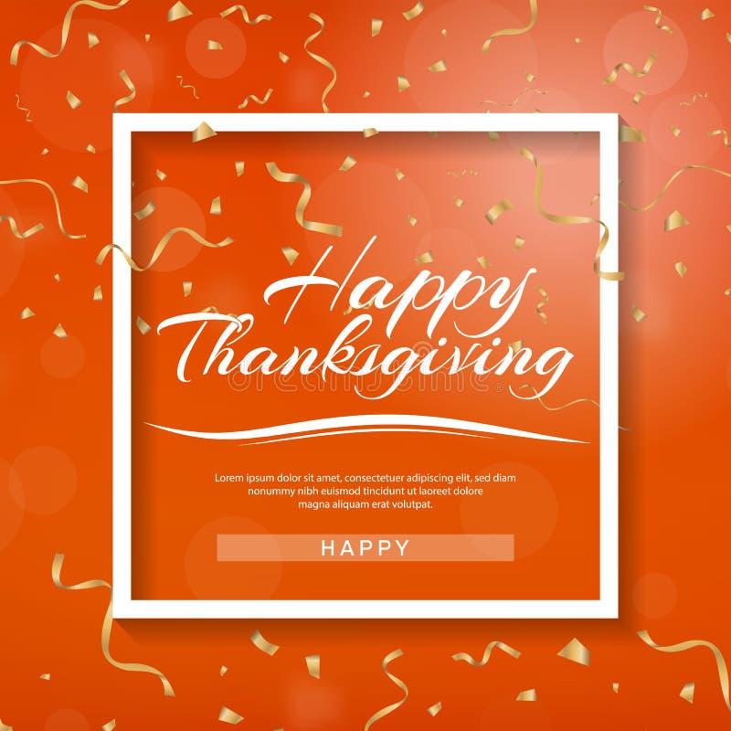 Gelukkige thanksging banner Uitnodigingsontwerp voor een een Dankzeggingsdiner of partij Het vectormalplaatje, kan voor affiche,  royalty-vrije illustratie