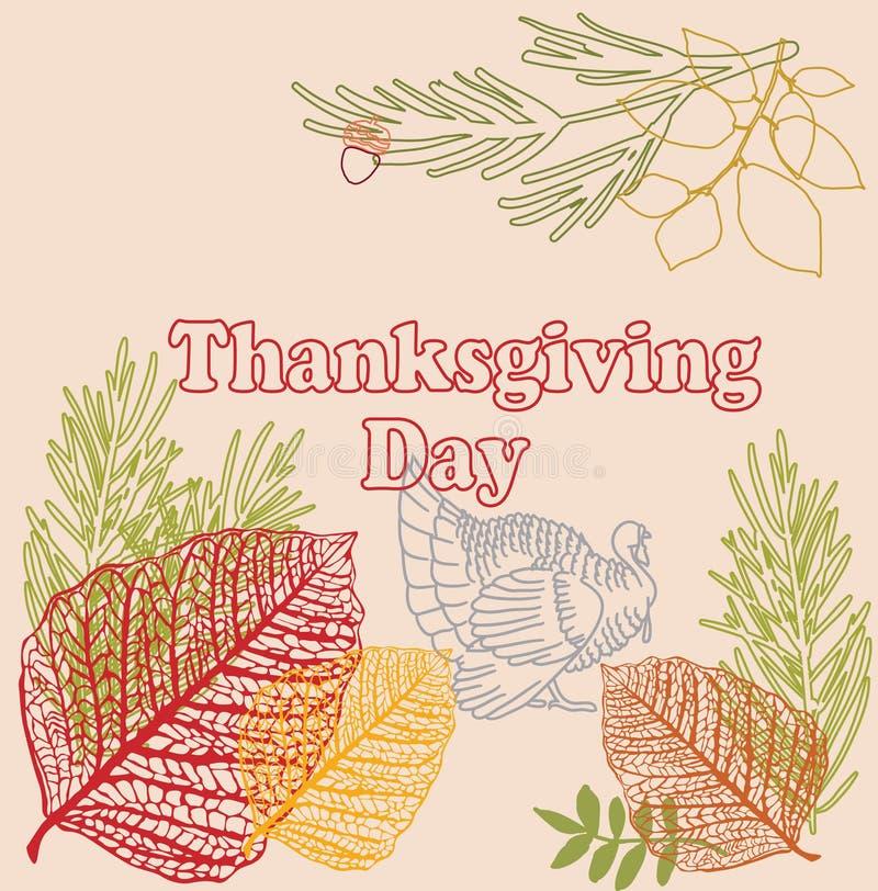 Gelukkige Thanksgiving day Vectorillustratie Hand Van letters voorzien Tekst o royalty-vrije illustratie