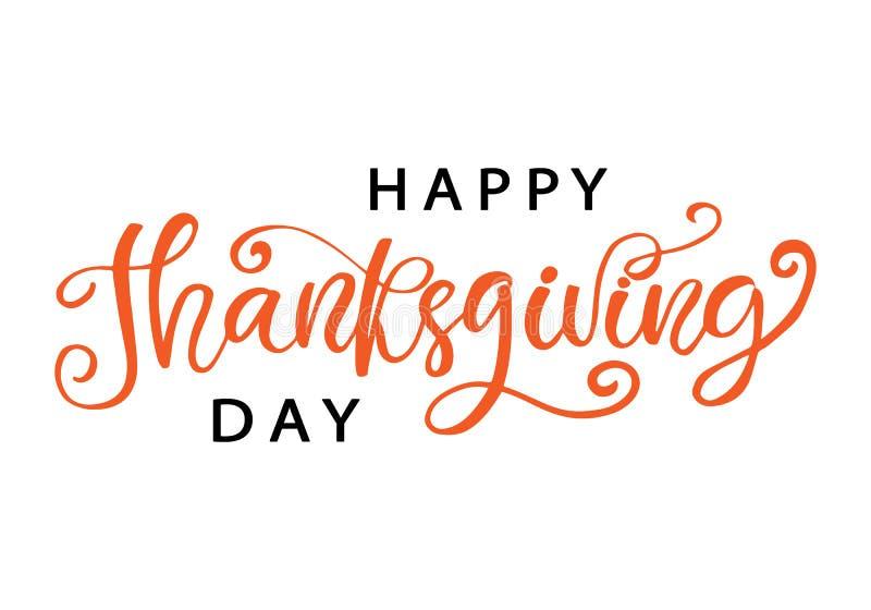 Gelukkige Thanksgiving dayhand geschreven van letters voorzien, geïsoleerd op wit royalty-vrije illustratie