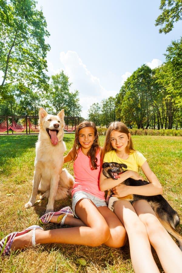 Gelukkige tieners en aardige honden buiten in park royalty-vrije stock fotografie