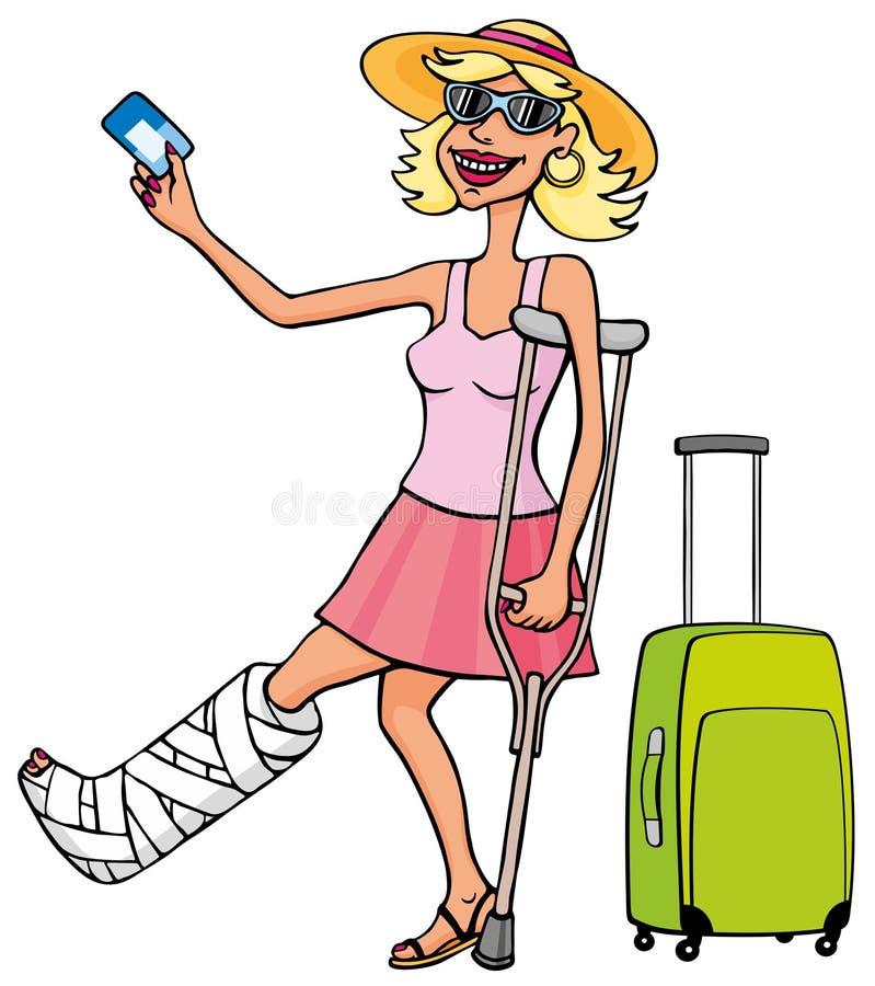 Gelukkige toeristenvrouw met een gebroken been en een kaart stock illustratie