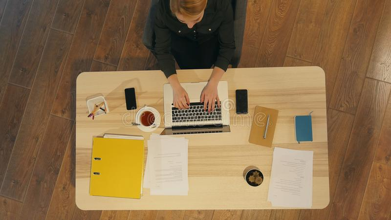 Gelukkige toevallige ondernemer die het online typen met laptop werken op kantoor met een venster op de achtergrond royalty-vrije stock foto's