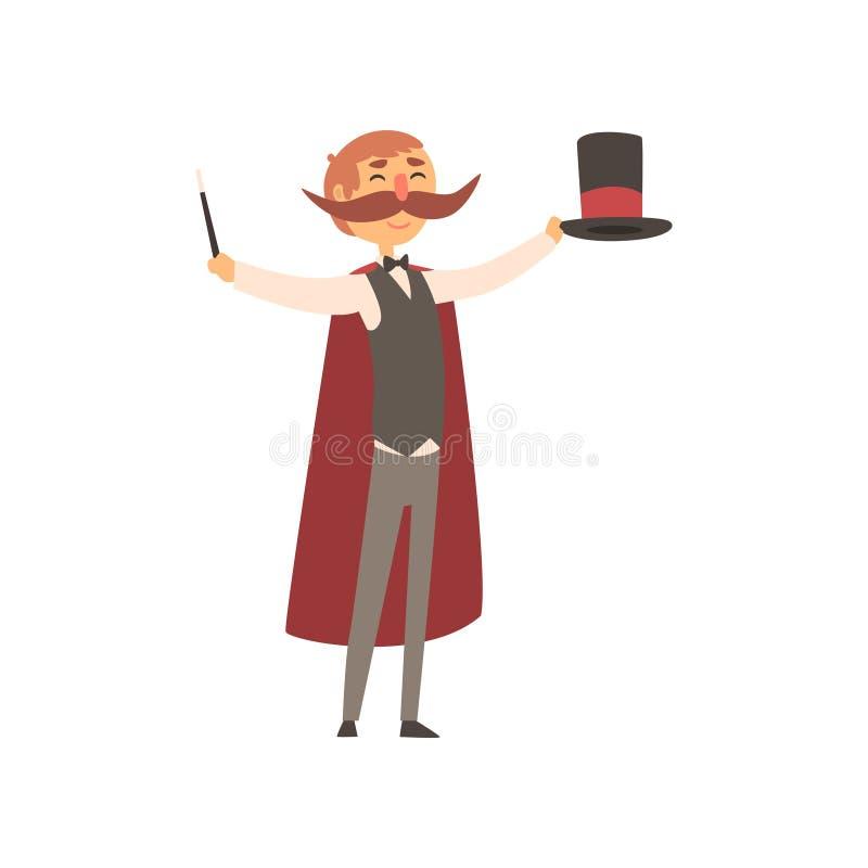 Gelukkige tovenaar die zich met hoge zijden en toverstokje in handen bevinden De mens met groot moustached, gekleed in kostuum en royalty-vrije illustratie