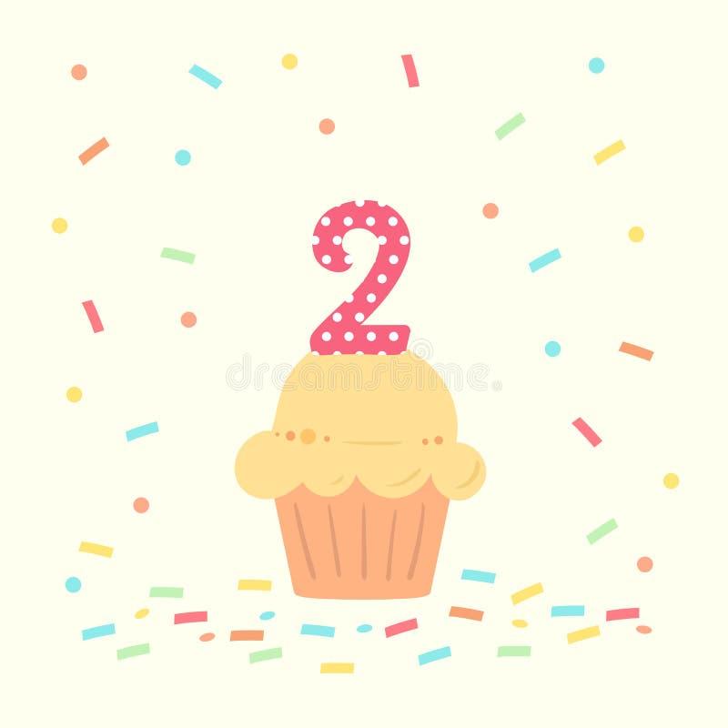 Gelukkige tweede verjaardagskaart met cupcake en nummer twee in vlakke ontwerpstijl, vectorillustratie stock illustratie