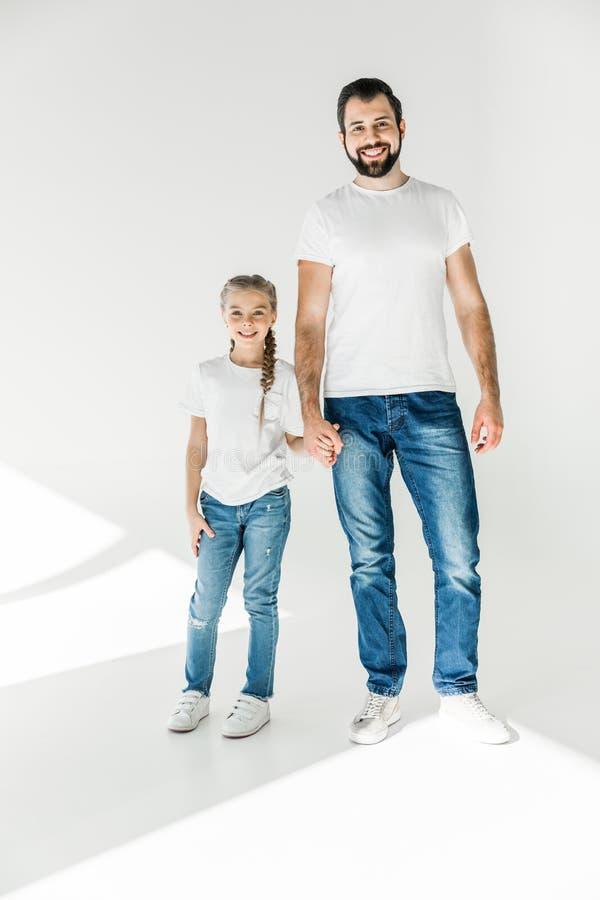 Gelukkige vader en dochter stock afbeelding