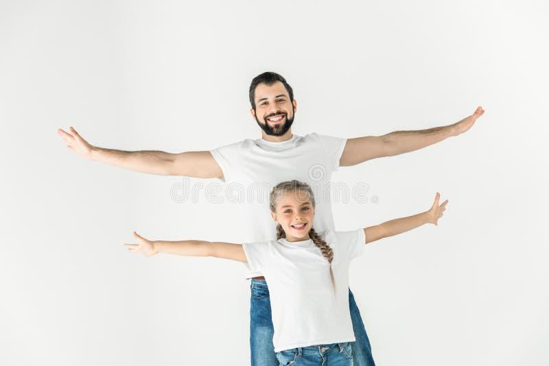 Gelukkige vader en dochter stock fotografie