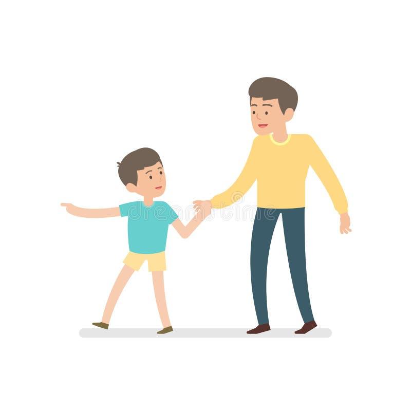 Gelukkige vader en zoonsholdingshanden terwijl samen het lopen, vecto royalty-vrije illustratie