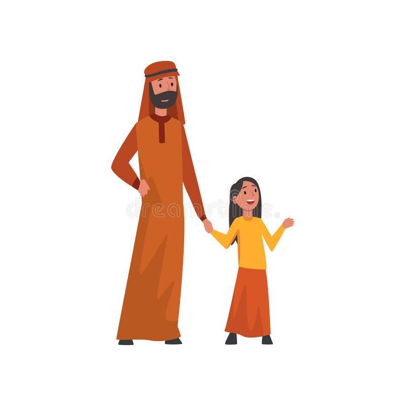 Gelukkige Vader Holding Hand His Weinig Dochter, Moslim Arabische Familie in Traditionele Kleren Vectorillustratie royalty-vrije illustratie