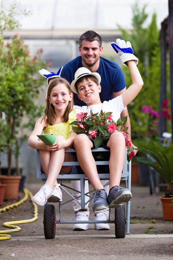 Gelukkige vader met zijn zoon en dochter het spelen met een kruiwagen in de serre stock fotografie