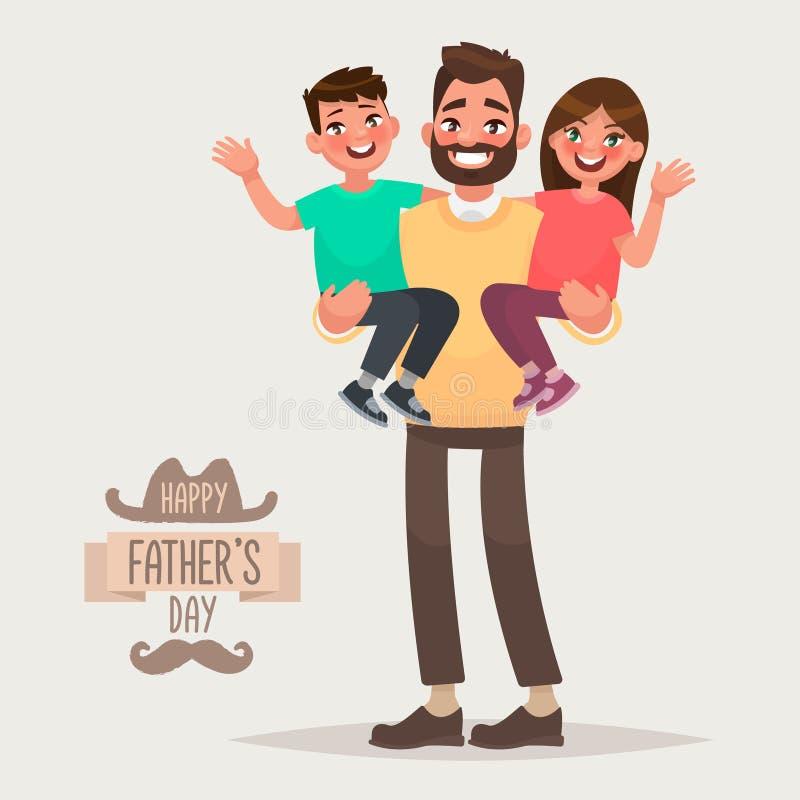 Gelukkige Vader` s dag Papa met zijn zoon en dochter in zijn wapens G vector illustratie