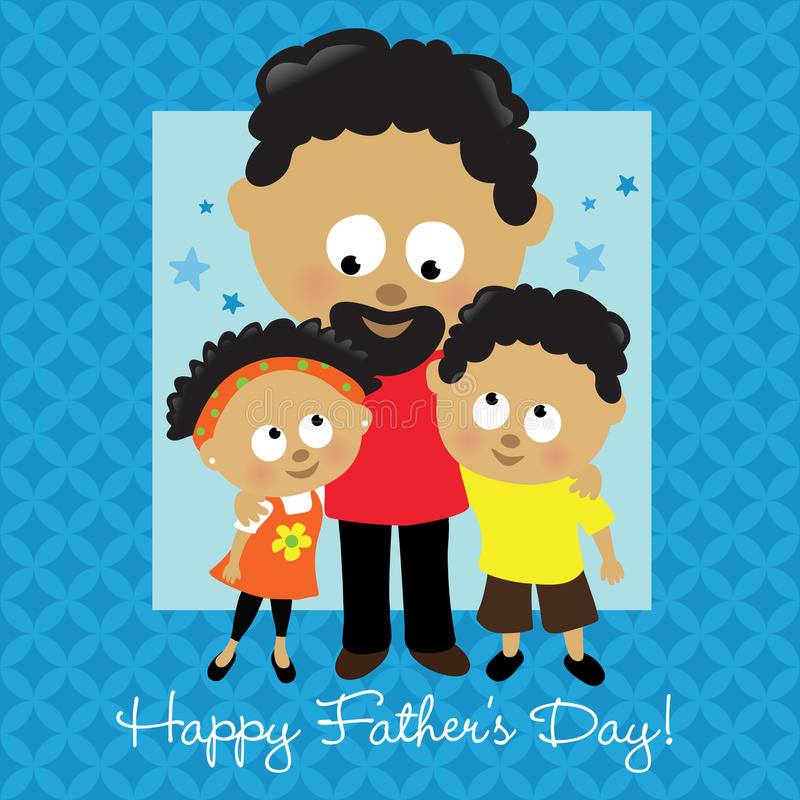 Gelukkige Vaderdag Afrikaanse Amerikaan stock illustratie