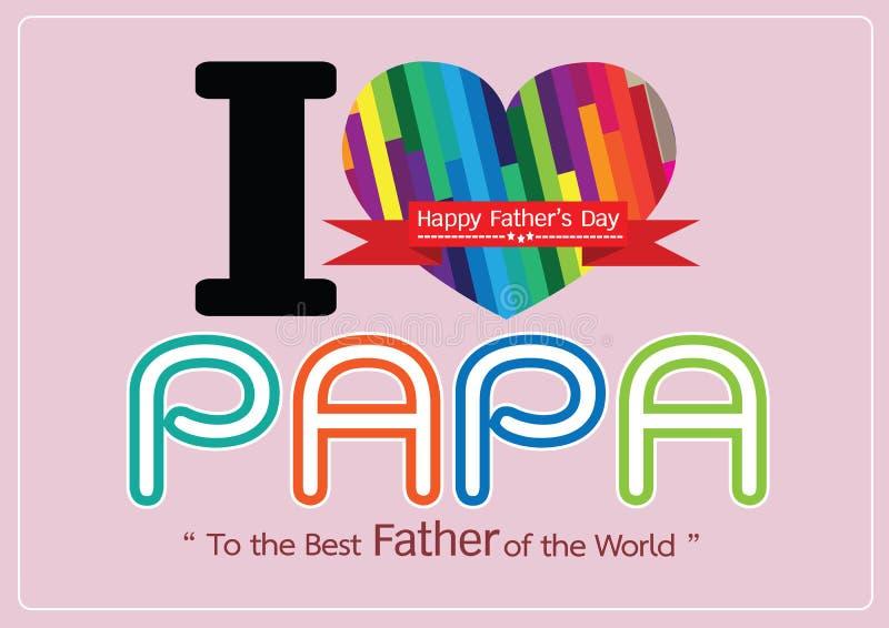 Gelukkige Vaderdagkaart, liefdepa of DAD vector illustratie
