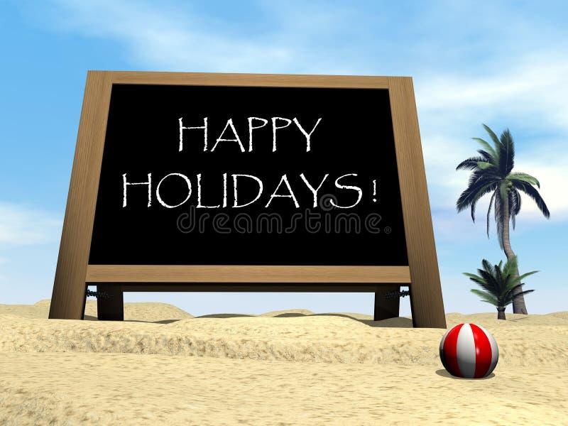 Gelukkige vakantie bij het 3D strand - geef terug royalty-vrije illustratie