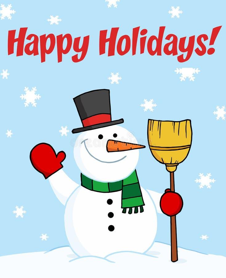 Gelukkige vakantie die met een sneeuwman begroeten stock illustratie