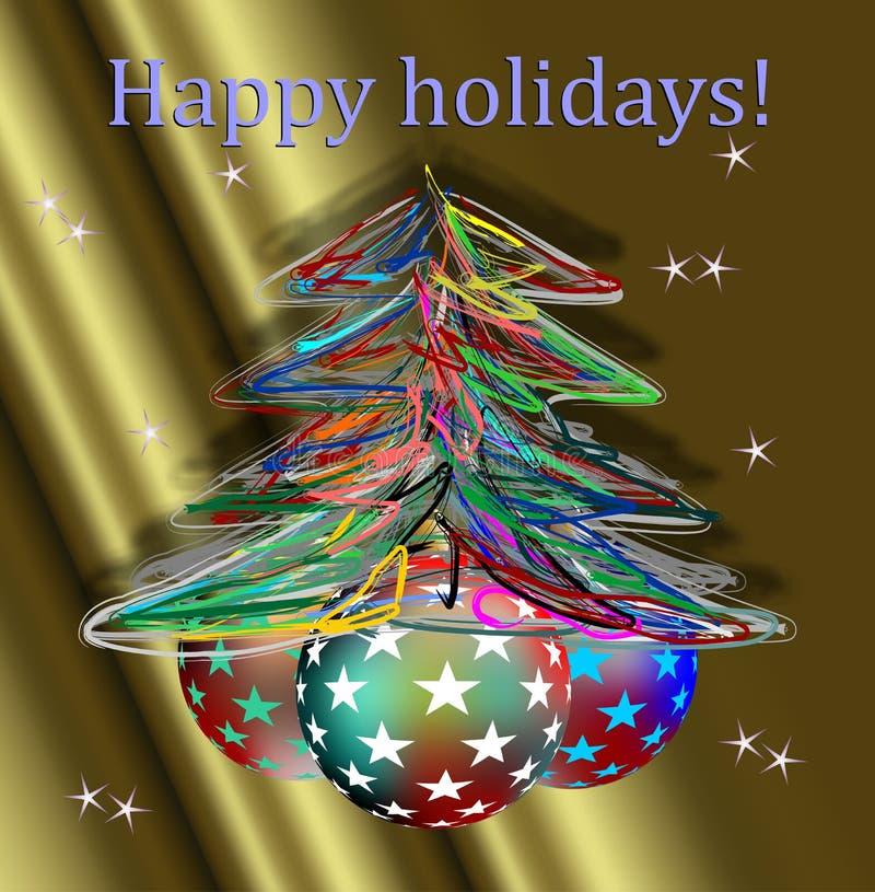 Gelukkige vakantie en hand - gemaakte Kerstboom stock afbeelding