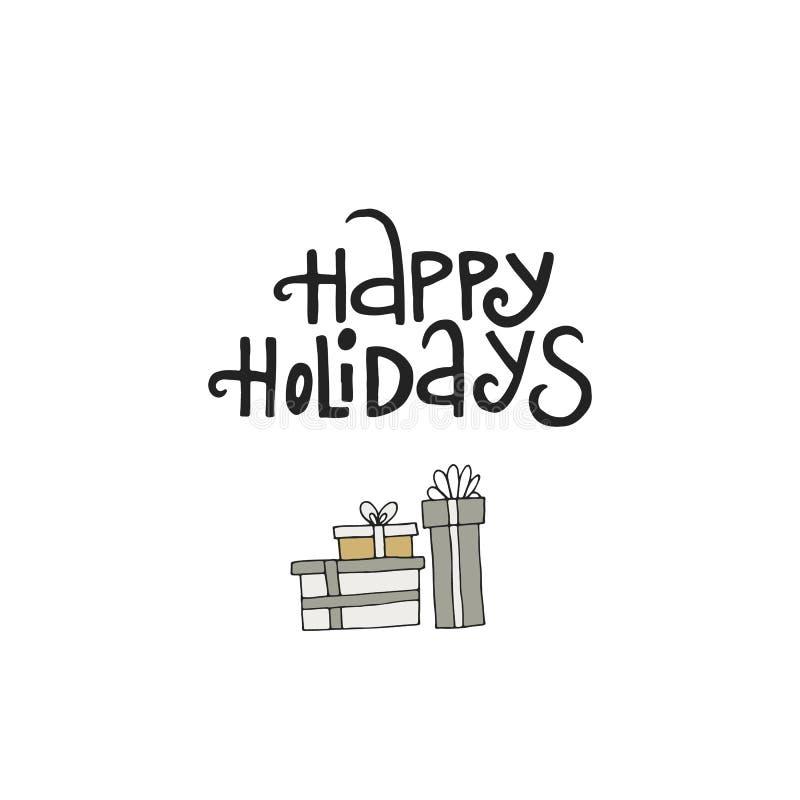 Gelukkige vakantie - hand het getrokken Kerstmis van letters voorzien met Kerstmisdecoratie Het leuke art. van de Nieuwjaarklem V stock illustratie